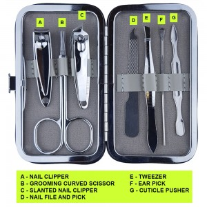 NC83 Professional 7 Piece Manicure & Pedicure Set With Love Heart Case
