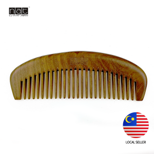 NAT 9843 NEW NATURAL HIGH QUALITY ANTI STATIC WIDE TOOTH WOODEN COMB