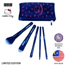 NAT HKFB01 HELLO KITTY LIMITED EDITION BLACK COLOUR ON-THE-GO MAKEUP BRUSH SET HIGH QUALITY