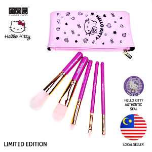 NAT HKFB01 HELLO KITTY LIMITED EDITION PINK GOLD COLOUR ON-THE-GO MAKEUP BRUSH SET HIGH QUALITY