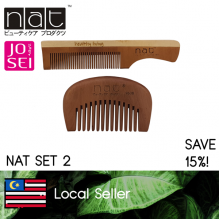 NAT COMBO SET 2 TRAVEL PORTABLE NATURAL HIGH QUALITY ANTI STATIC WOODEN COMBS 603 + 9608B