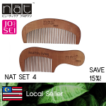 NAT COMBO SET 4 TRAVEL NATURAL HIGH QUALITY ANTI STATIC PEACH WOOD COMBS 9831 + 9832